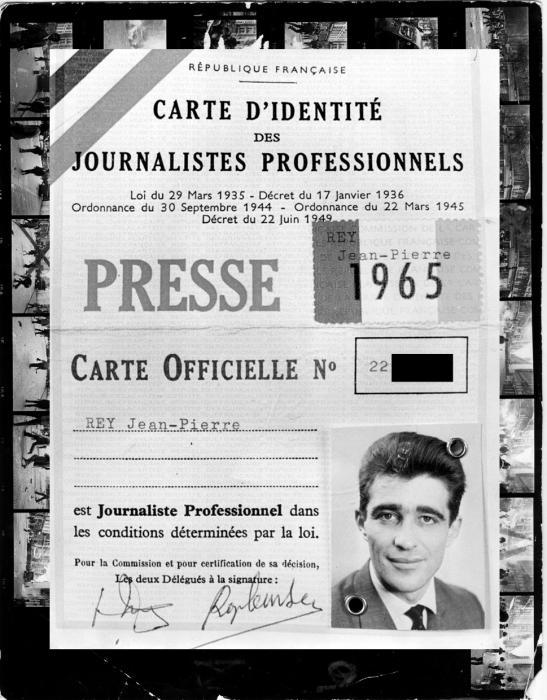 Carte de presse de Jean-Pierre Rey, 1965