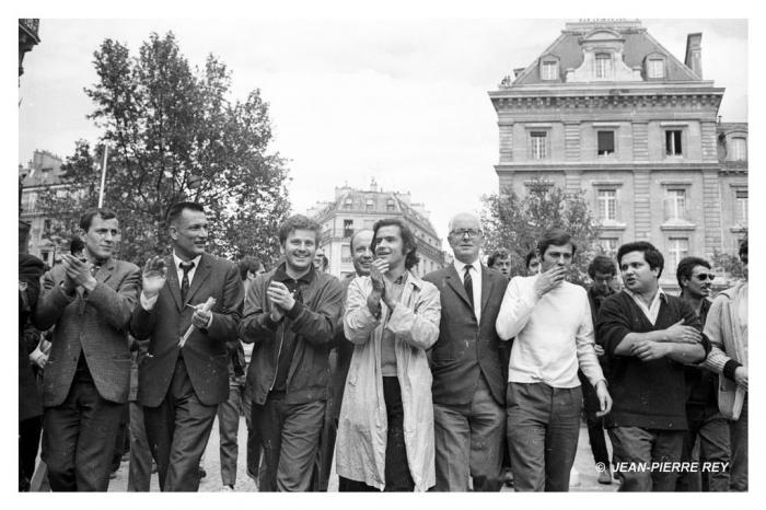 3 mai 1968 - J.-P. Vigier, A. Geismar, D. Cohn-Bendit, J. Sauvageot