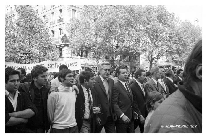 13 mai 1968 - A. Geismar, D. Cohn-Bendit, J. Sauvageot