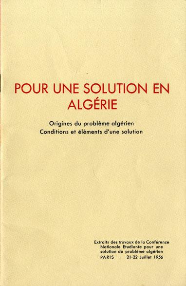 Pour une solution en Algérie- 21 juillet 1956