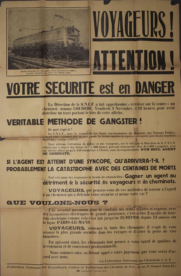Affiche-tract « Voyageurs ! Attention ! Votre sécurité est en danger », 11 novembre 1950