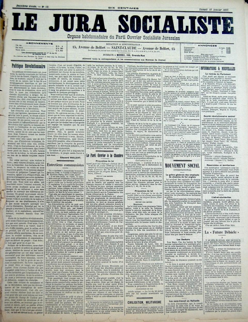 « Une » du journal Le Jura Socialiste (du 16 janvier 1897).