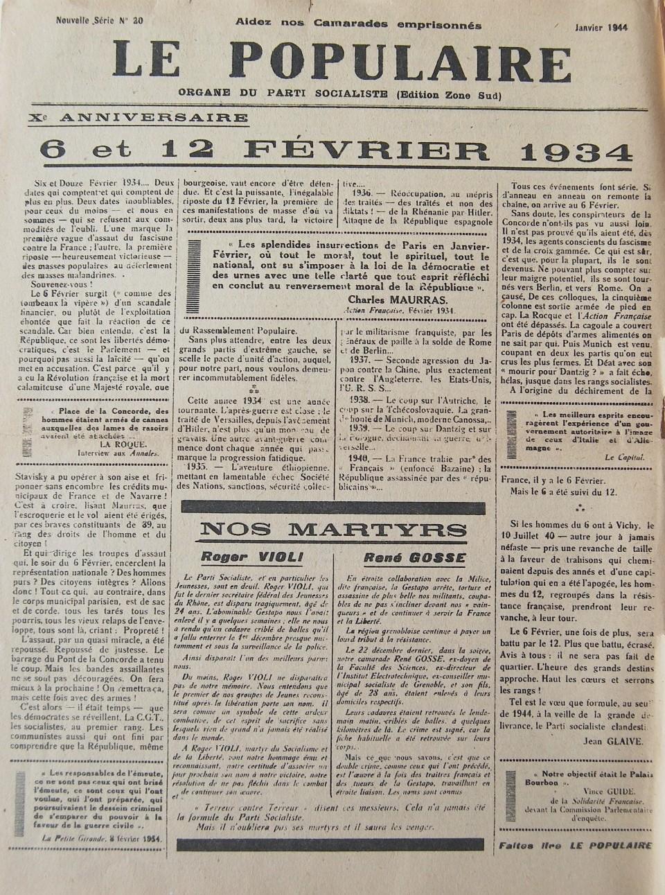 « Une » du journal Le Populaire de janvier 1944.