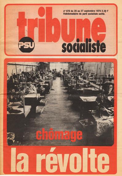 Chômage, la révolte Une de Tribune socialiste du 20 septembre 1975