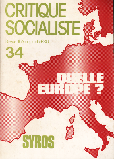 Quelle Europe. Couverture de la revue critique socialiste n° 34
