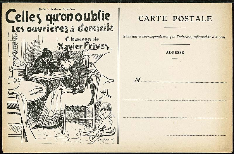 Celles qu'on oublie. Les ouvrières à domicile. Paroles et musique de Xavier Privas. Éd. La Chanson française, [1912].