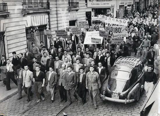 Manifestation des métallos nantais en septembre 1955