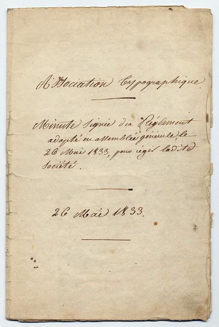 Règlement de l'Association typographique adopté en assemblée générale le 26 mai 1833 à Nantes.