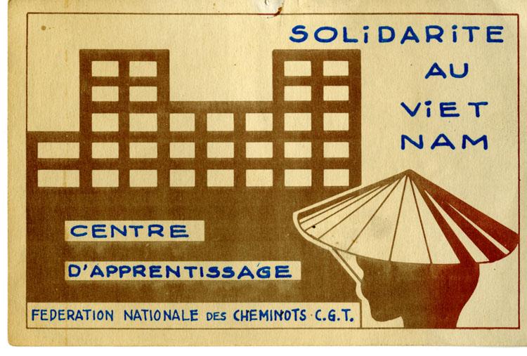 Carte de solidarité au Vietnam des apprentis de la Fédération CGT des cheminots, [1946-1954]