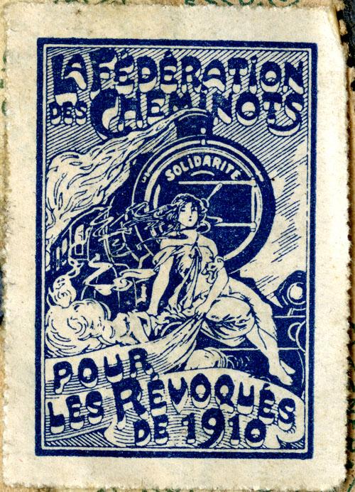 Timbre de la Fédération nationale des travailleurs des chemins de fer (CGT) édité en 1919-1920 en solidarité aux grévistes révoqués de 1910