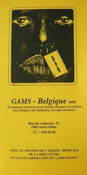 Brochure du GAMS - Belgique (Groupement d'hommes et de femmes africains et européens  pour l'abolition des mutilations sexuelles féminines) (s.d.)