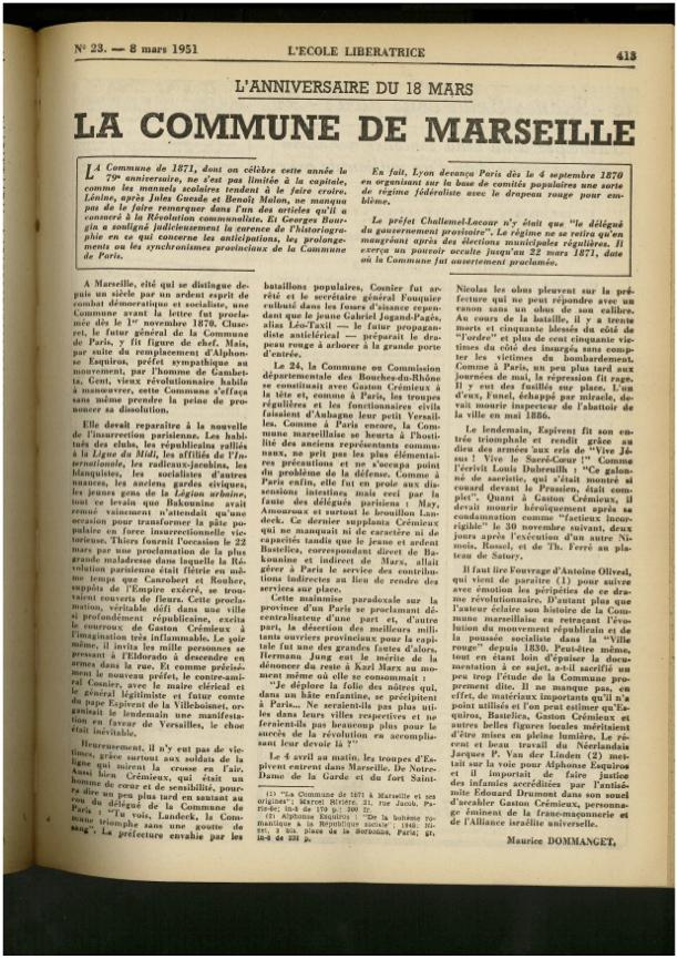 Article de Maurice Dommanget dans l'École libératrice du 8 mars 1951 : « L'anniversaire du 18 mars. La Commune de Marseille. »