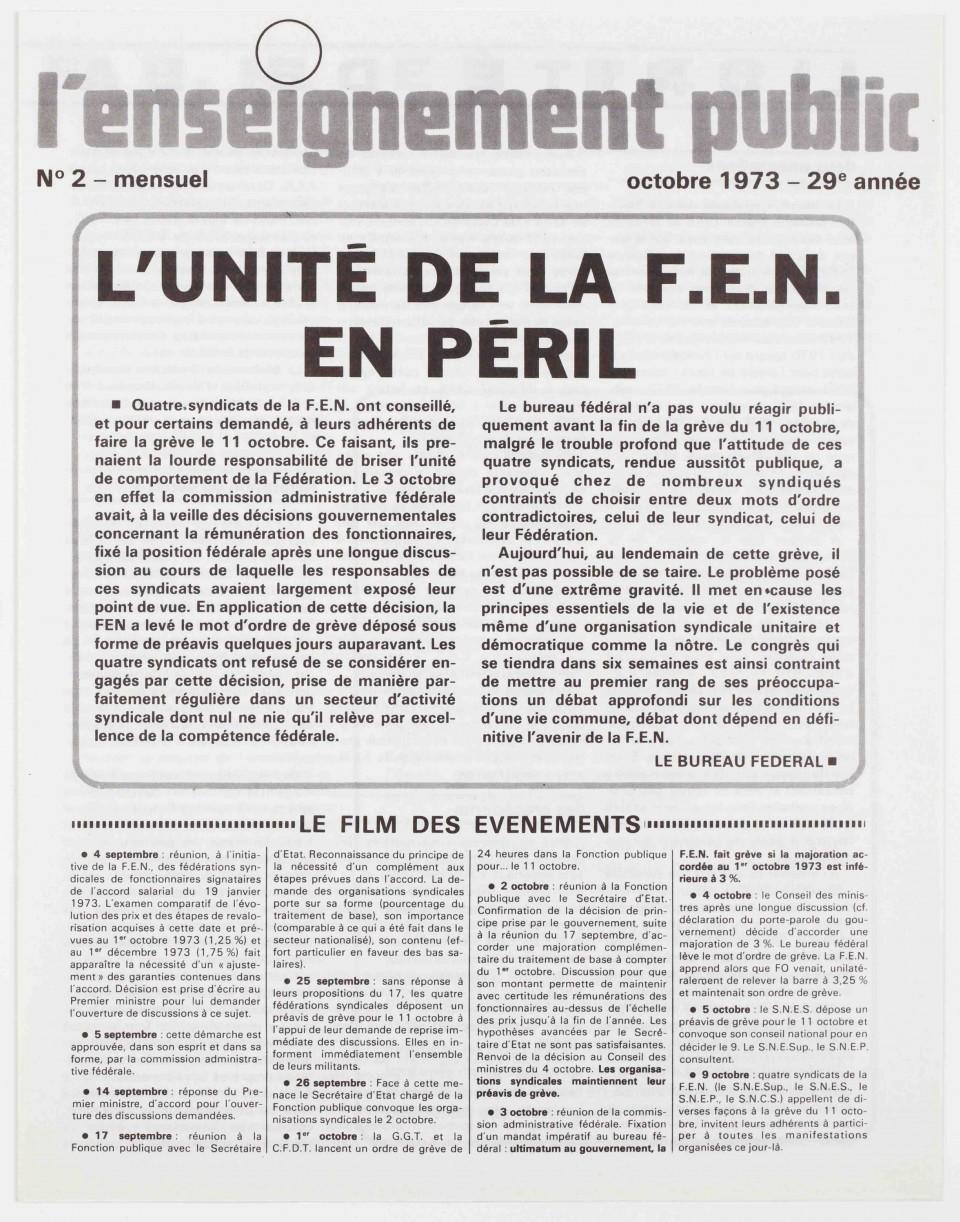 . L'Enseignement public d'octobre 1973 « L'Unité de la FEN en péril »
