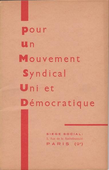 Couverture de la brochure éditée par le PUMSUD (Pour Un Mouvement Syndical Uni et Démocratique), 1958