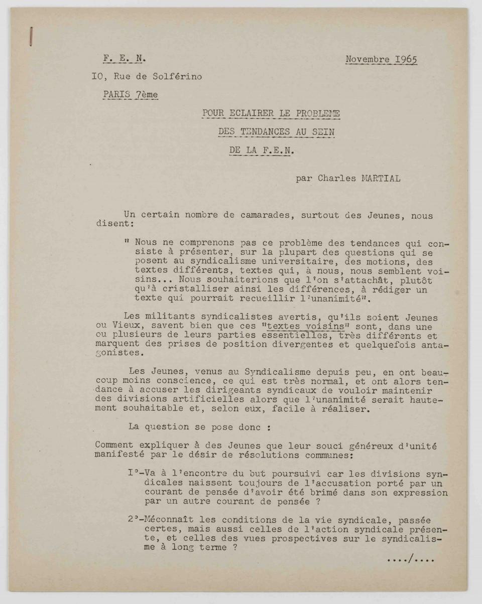Note de Charles Martial «  Pour éclairer le problème des tendances au sein de la FEN » Novembre 1965.
