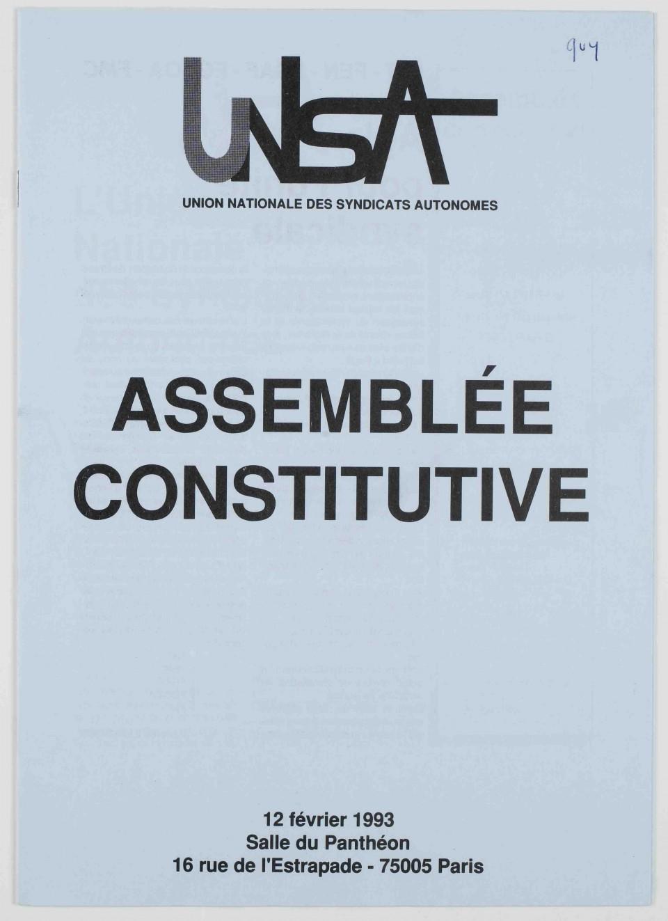 Assemblée générale constitutive de l'UNSA, 12 février 1993.