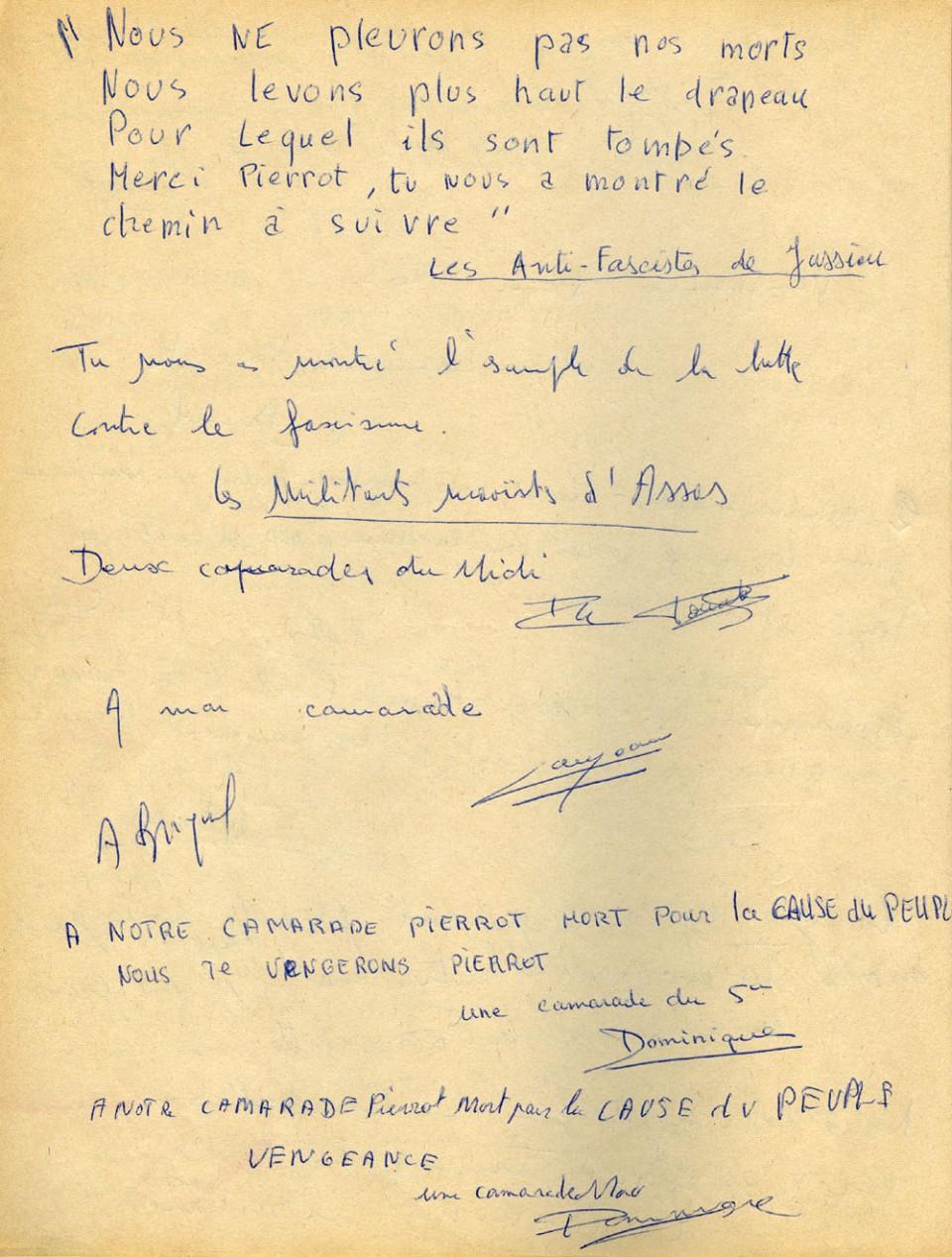 Page du livre d'or pour l'enterrement de Pierre Overney (4 mars 1972)