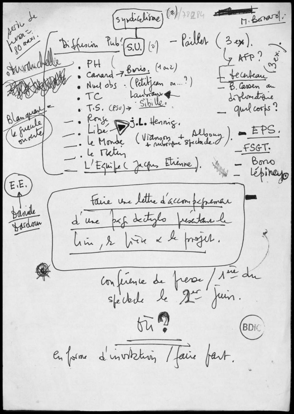 Page d'un document interne du COBA (Comité pour le boycott de l'organisation par l'Argentine de la coupe du monde de football), 1978