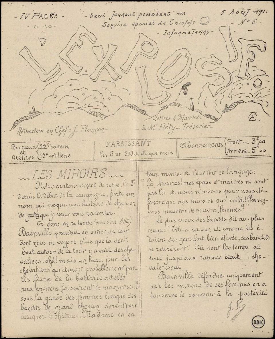 L'explosif. Seul journal possédant un service spécial de cuistots informateurs. Numéro du 5 août 1916