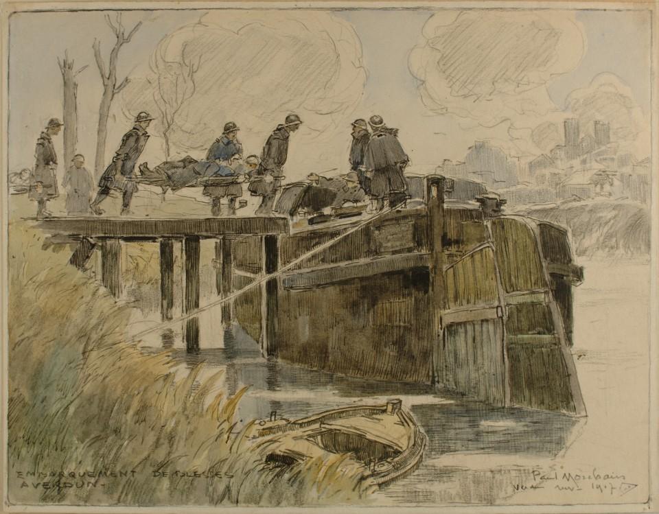 Embarquement de blessés à Verdun, novembre 1917